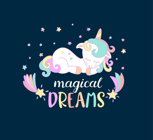 Magiska drömmar från enhörningar. vektor