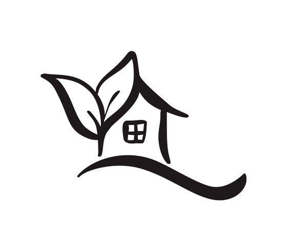 Eco House leaf. Enkel kalligrafi natur Vector bio Ikon. Estate Architecture Byggande för design. Konst hem vintage handgjorda Logo grön trädgård element