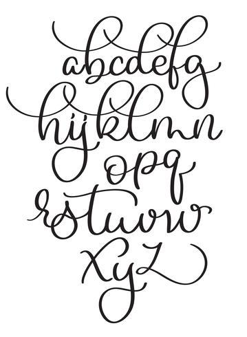 kalligrafi alfabetet på vit bakgrund. Handritad vintage bokstäver Vektor illustration EPS10