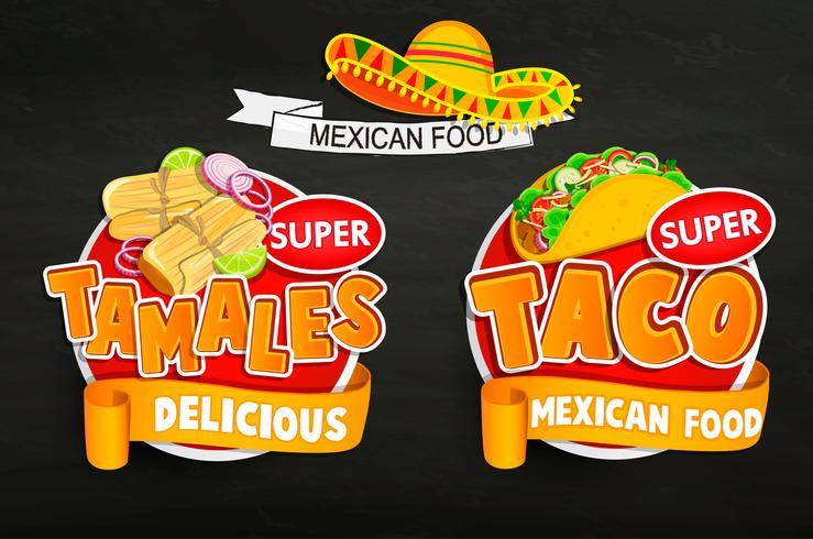 Ange od traditionella mexikansk mat logotyper, emblem. vektor