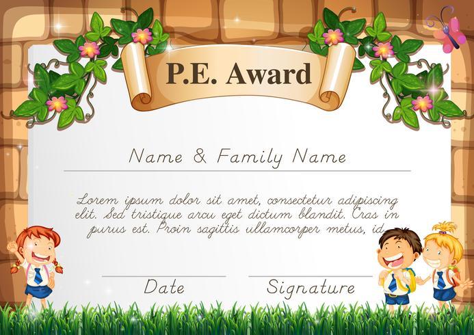 Certifikatmall för PE-pris vektor