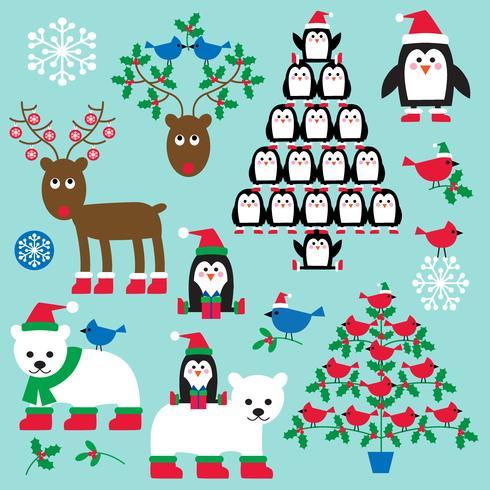 Weihnachtstiere und Bäume Clipart vektor