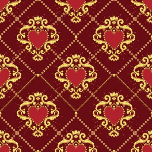 Helig hjärta och gyllene kedja på mörkröd bakgrund. Sömlöst mönster. Vektor illustration