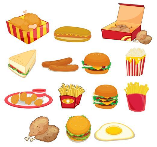 Junk Food auf weiß vektor