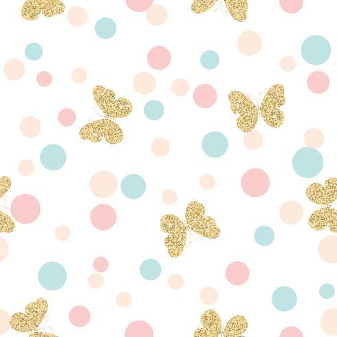Guldglittrande fjärilar sömlösa mönster på pastellfärger konfetti runda prickar bakgrund. vektor