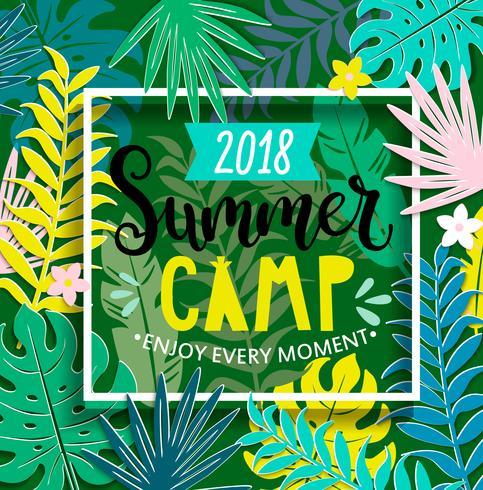 Sommarläger 2018 i djungeln. vektor