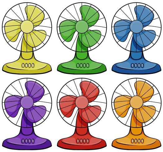 Elektriska fläktar i sex olika färger vektor