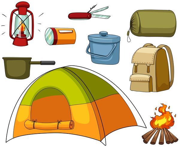 Camping mit Zelt und Ausrüstungen vektor