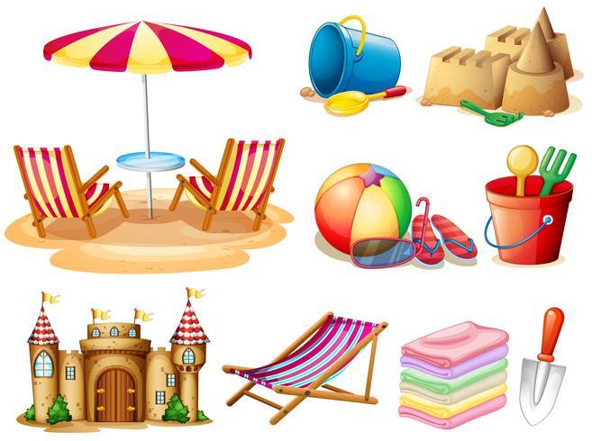 Stranduppsättning med sittplats och leksaker vektor