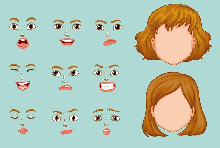 Frauengesichter mit unterschiedlichen Ausdrücken vektor