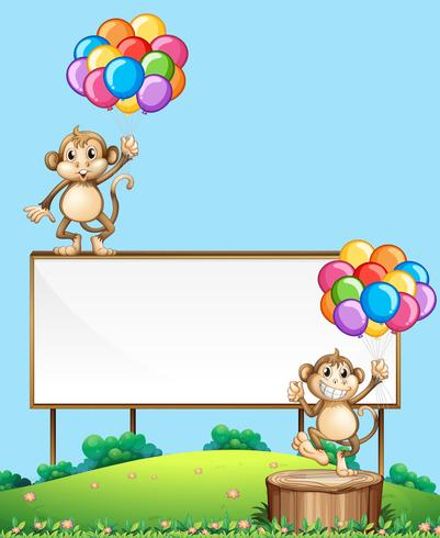 Affe mit Ballon am Schild vektor