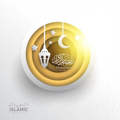 Ramadan Kareem Bakgrunds papperskonst eller pappersskuren stil med Fanoos-lykta, Crescent Moon & Mosque Background. För webb banner, hälsningskort och kampanjmall i Ramadan Holidays 2019. vektor