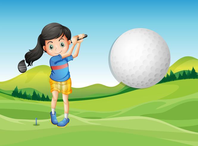 Eine junge Dame, die Golf spielt vektor