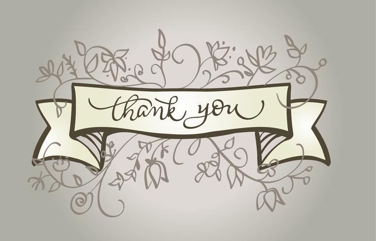 Kalligraphie Danke, schönen Weinleserahmen zu simsen. Vektor-Illustration EPS10 beschriftet vektor