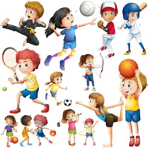 Kinder, die verschiedene Sportarten ausüben vektor