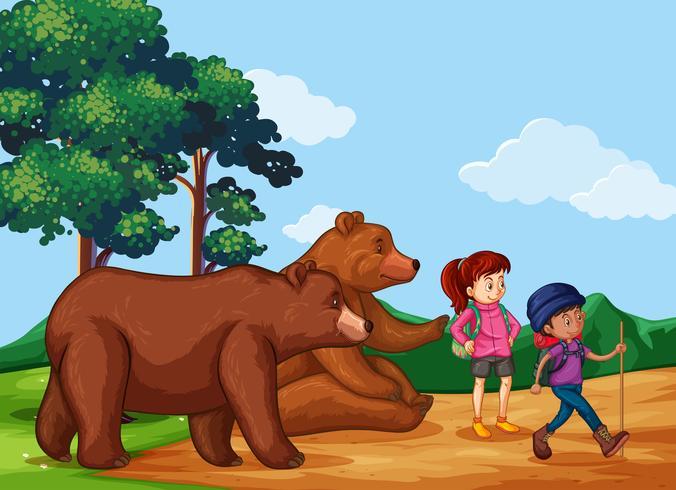 Människor vandrar upp i berget med två björnar vektor