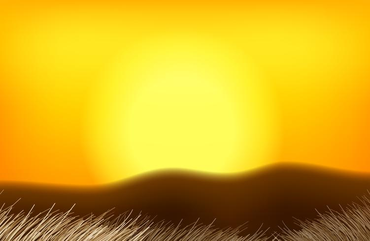 Eine orange Sonnenunterganglandschaft vektor