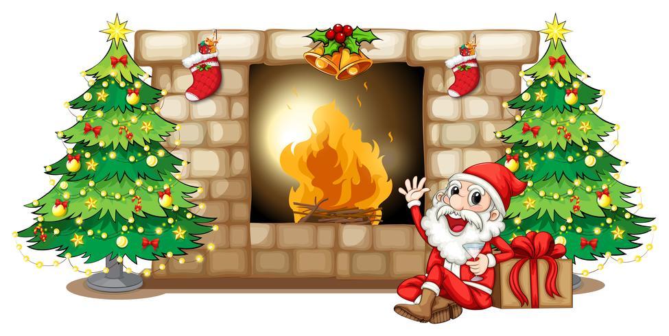Ein fröhlicher Weihnachtsmann am Kamin vektor