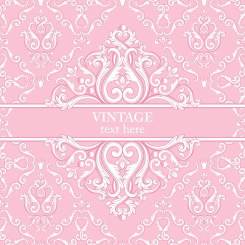 Mall kort med abstrakt barock kunglig bakgrund i rosa och vita färger. vektor