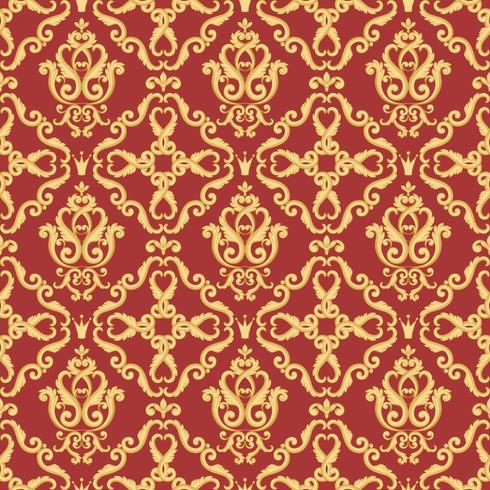 Nahtloses Damastmuster. Gold und rote Beschaffenheit vektor