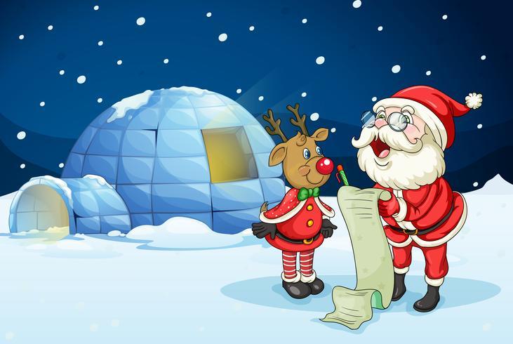 Weihnachtsmann und Rentier vektor