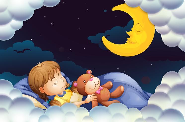 Liten tjej som sover med teddybear på natten vektor