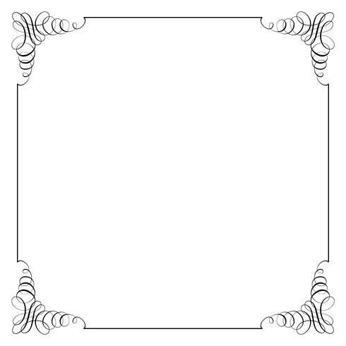 Fyrkantig ram i kalligrafisk retrostil. vektor