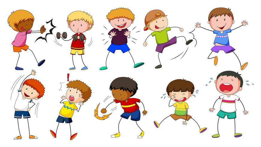 Pojkar gör olika aktiviteter vektor