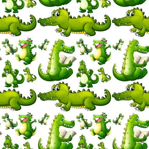 Nahtloses Krokodil, das Tätigkeiten tut vektor
