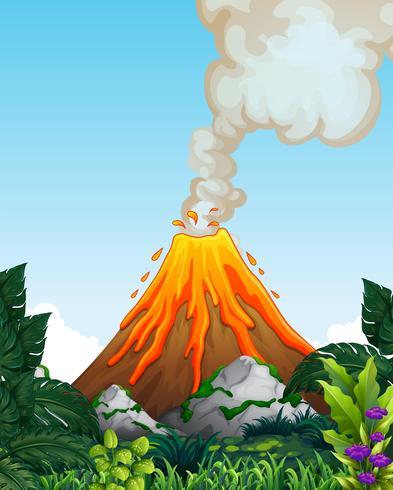 Ein gefährlicher Vulkanausbruch vektor