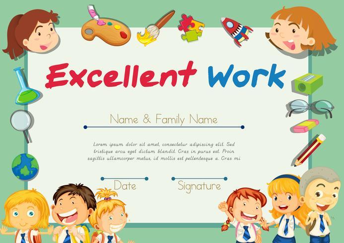 Certifikatmall för studenter med utmärkt arbete vektor