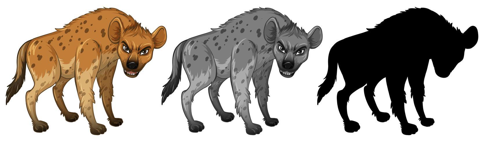 Set av hyena karaktär vektor