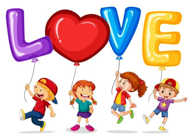 Lyckliga barn med ballonger för ordet kärlek vektor