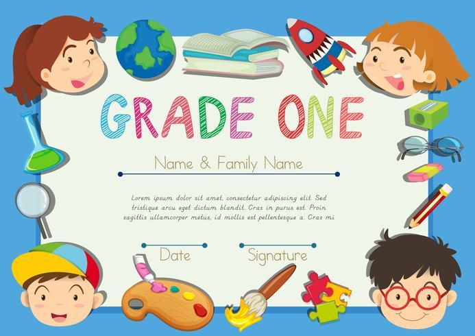 Certifikat med barn på gränsen vektor