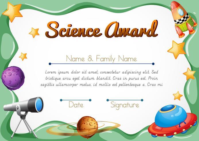 Zertifizierungsvorlage für den Wissenschaftspreis vektor