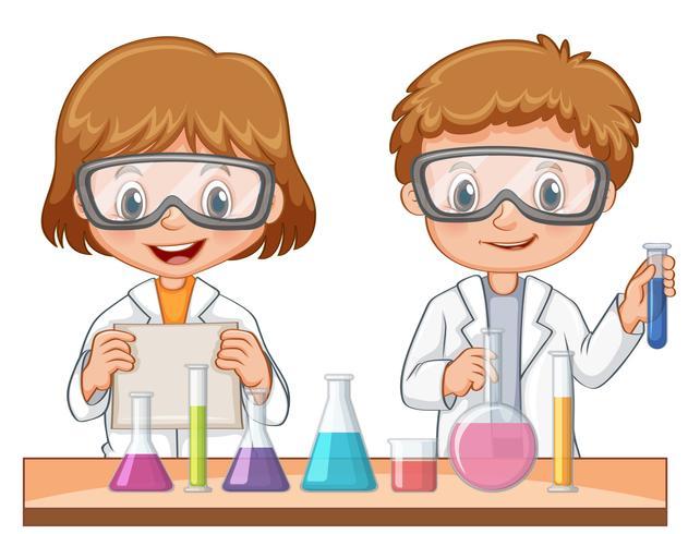Två studenter gör vetenskapsexperiment vektor