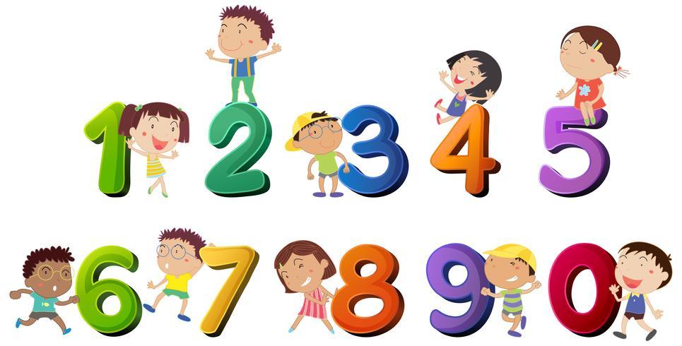 Lyckliga barn räknar med siffror vektor