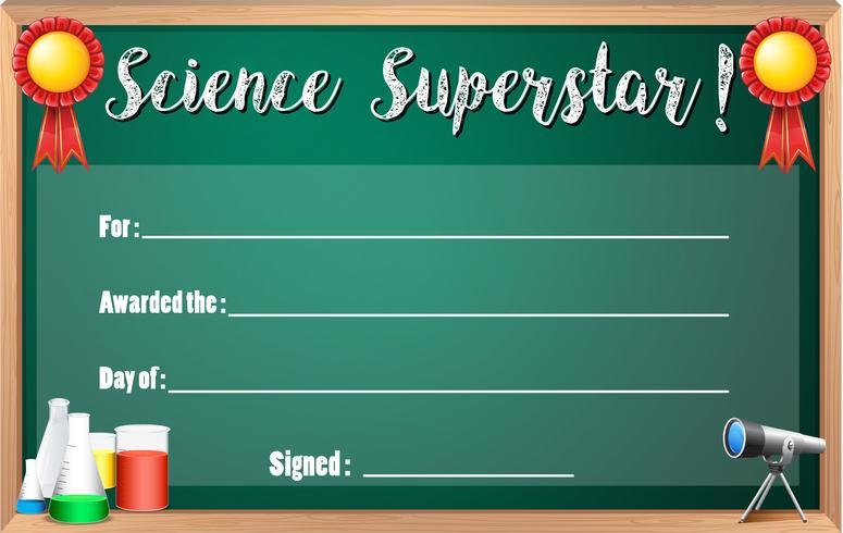 Zertifikatvorlage für Wissenschafts-Superstar vektor