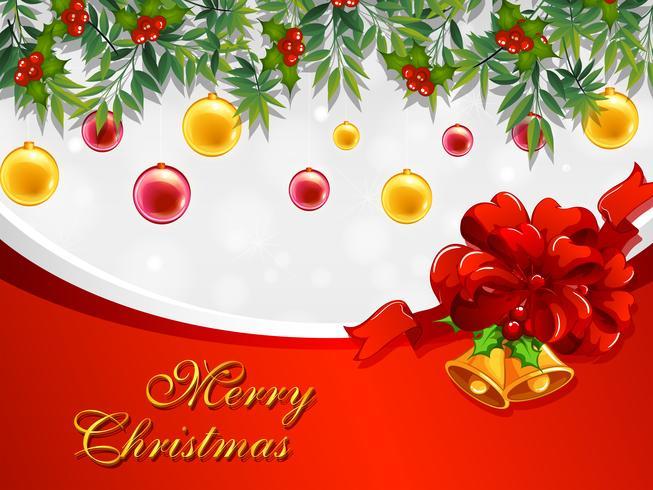 Julkortsmall med klockor och ornament vektor