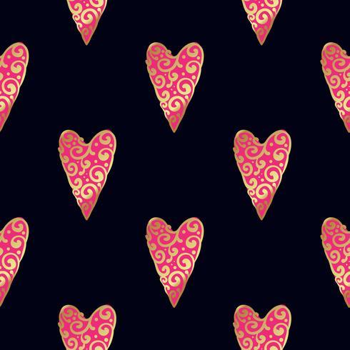 Sömlöst guldmönster med hjärtan. vektor