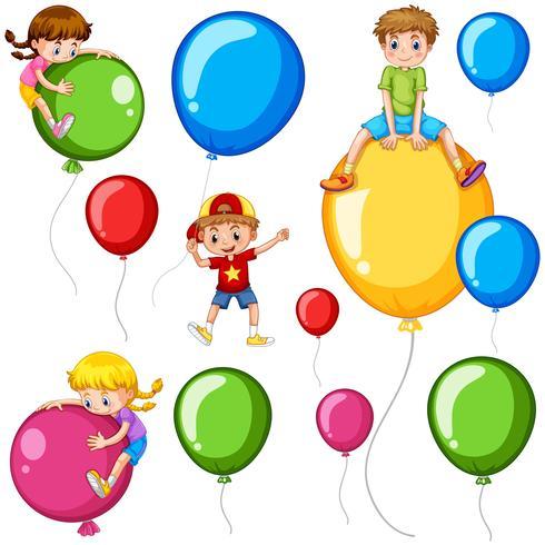 Kinder und bunte Luftballons vektor