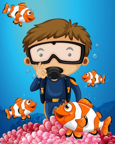 Man dyker under vatten med många clownfish vektor