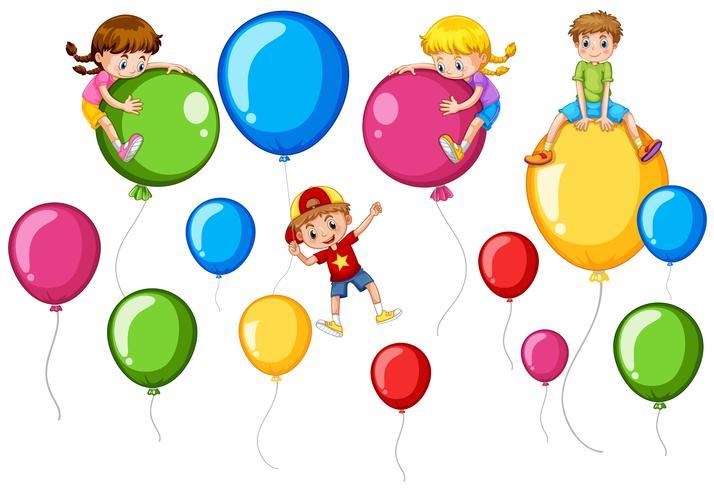 Lyckliga barn och färgglada ballonger vektor