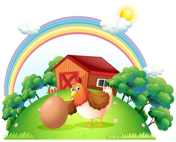Eine Henne und ein Ei in der Nähe des Holzhauses vektor