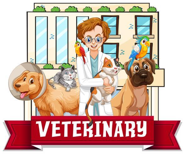 Veterinärläkare med husdjur vektor