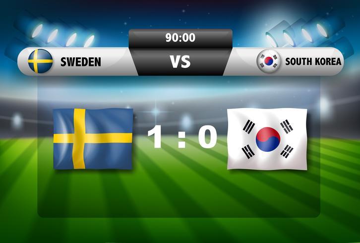 Eine Anzeigetafel Schweden vs Südkorea vektor