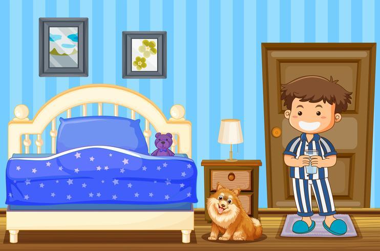 Pojke och hund i blått sovrum vektor
