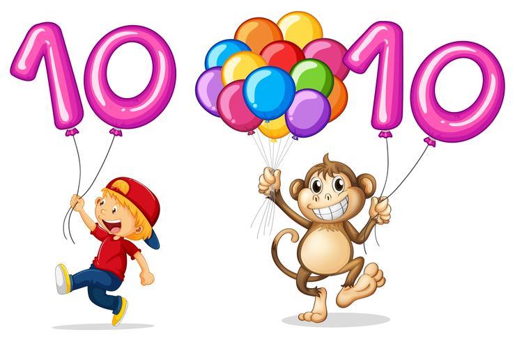 Junge und Affe mit Ballon für Nummer 10 vektor