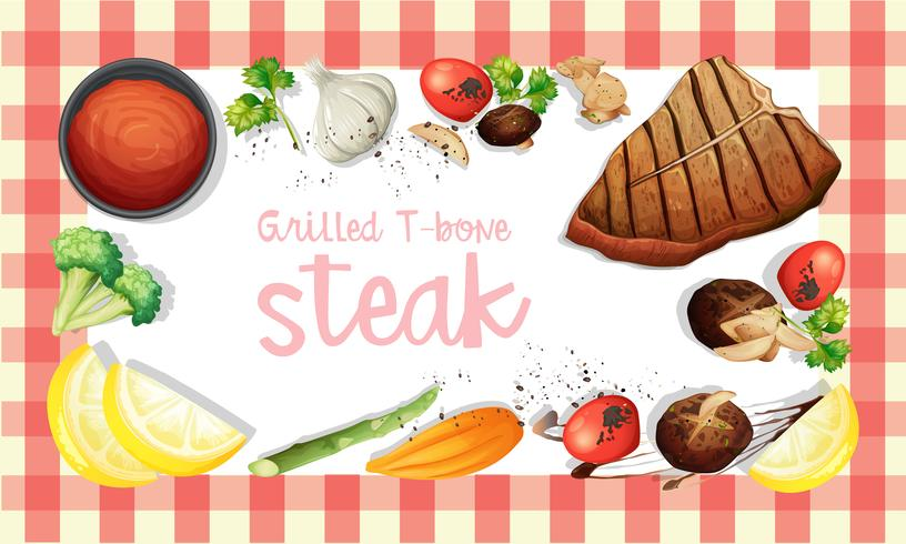 Grillad T-Bone Stake Element Template vektor