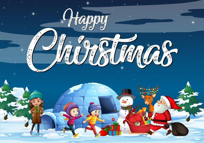 Jultemaaffisch med Santa i snön vektor